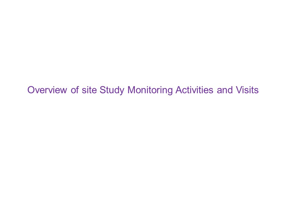 Overview of site Study Monitoring Activities and Visits