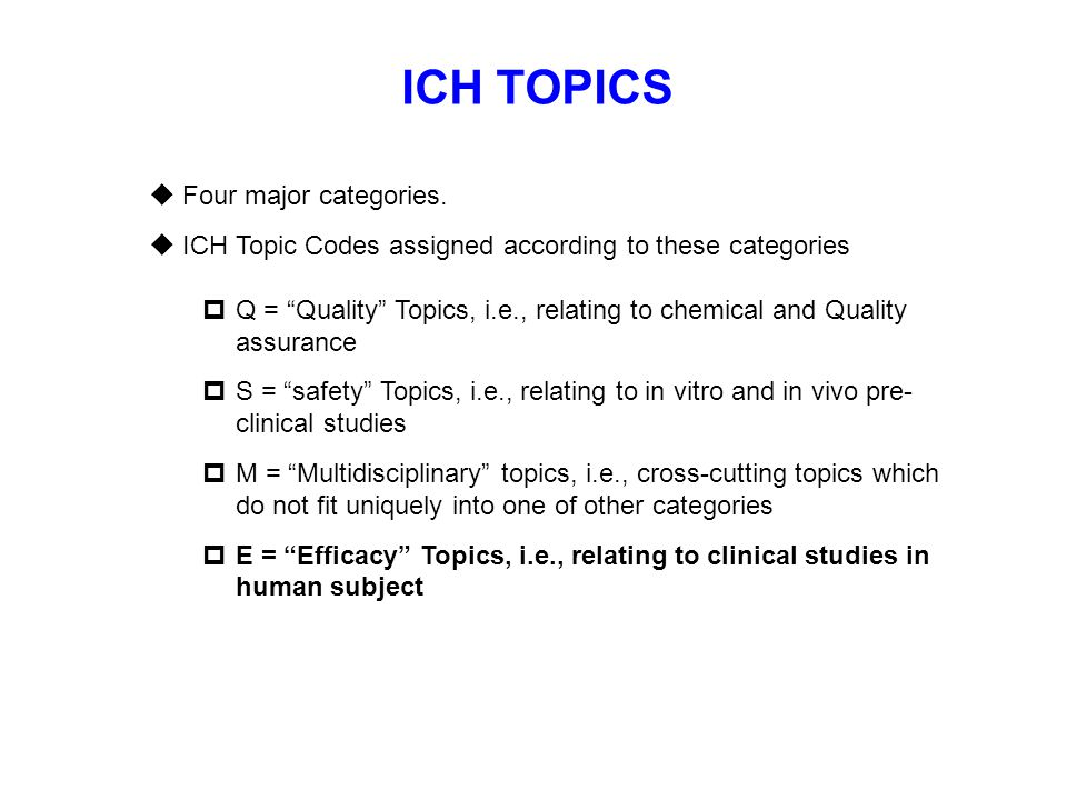 ICH TOPICS Four major categories.