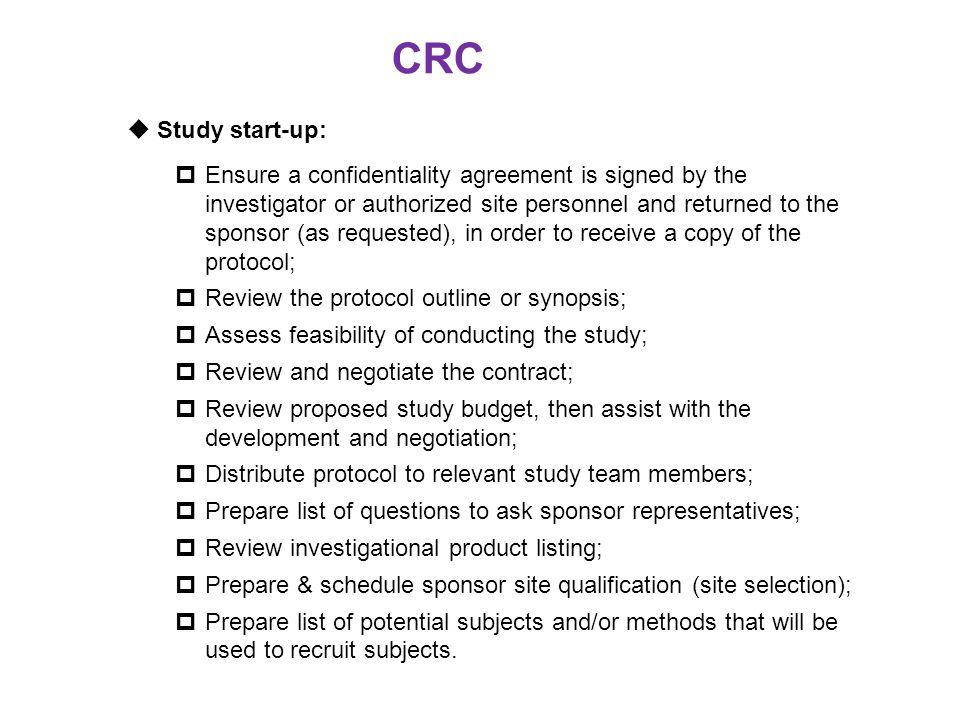 CRC Study start-up: