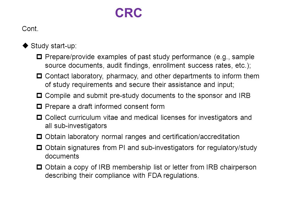 CRC Cont. Study start-up: