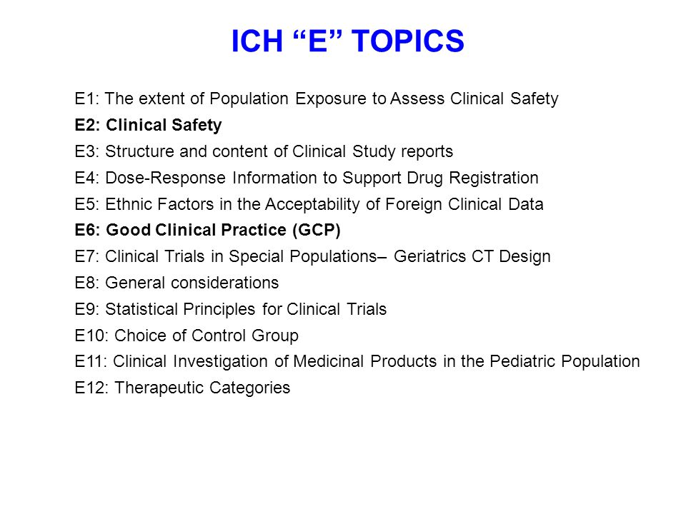 ICH E TOPICS E1: The extent of Population Exposure to Assess Clinical Safety. E2: Clinical Safety.