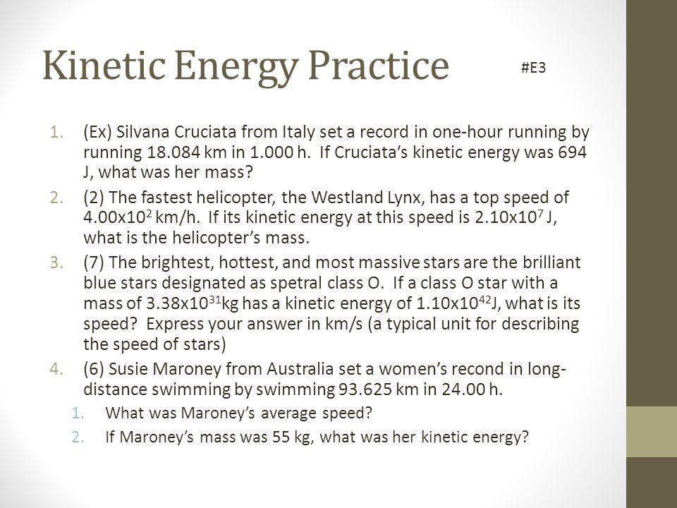 Kinetic Energy Practice