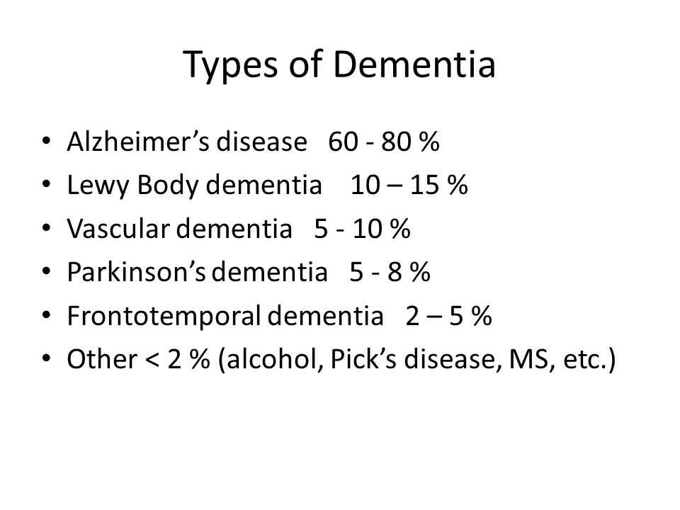 Types of Dementia Alzheimer's disease 60 - 80 %