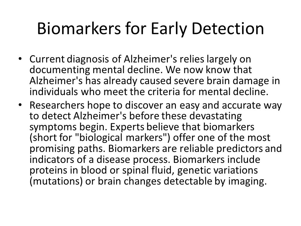 Biomarkers for Early Detection