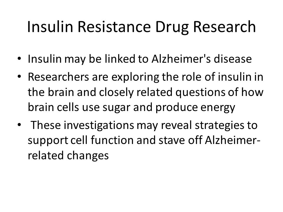 Insulin Resistance Drug Research