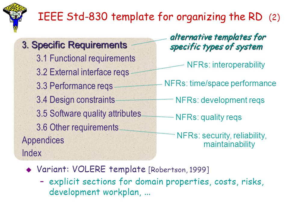 IEEE Std-830 template for organizing the RD (2)