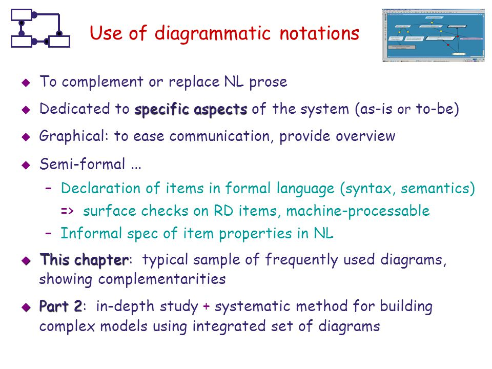 Use of diagrammatic notations
