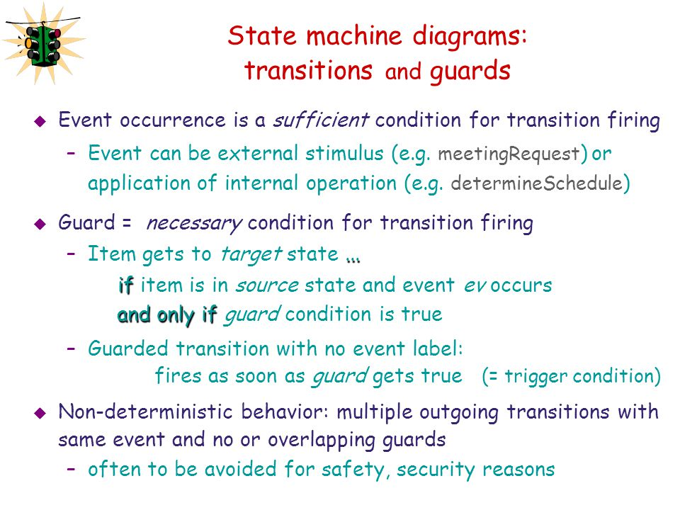 State machine diagrams: transitions and guards