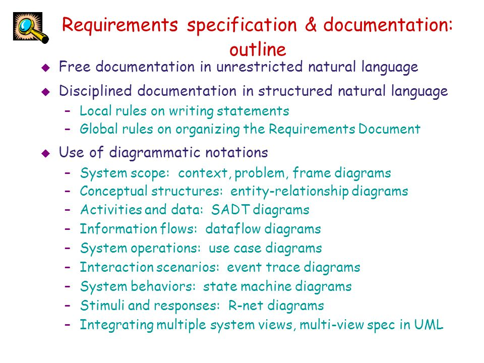 Requirements specification & documentation: outline