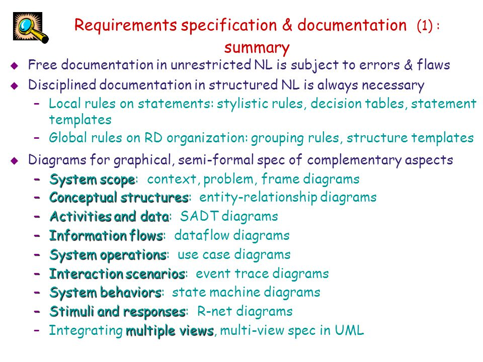 Requirements specification & documentation (1) : summary