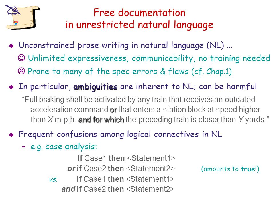 Free documentation in unrestricted natural language