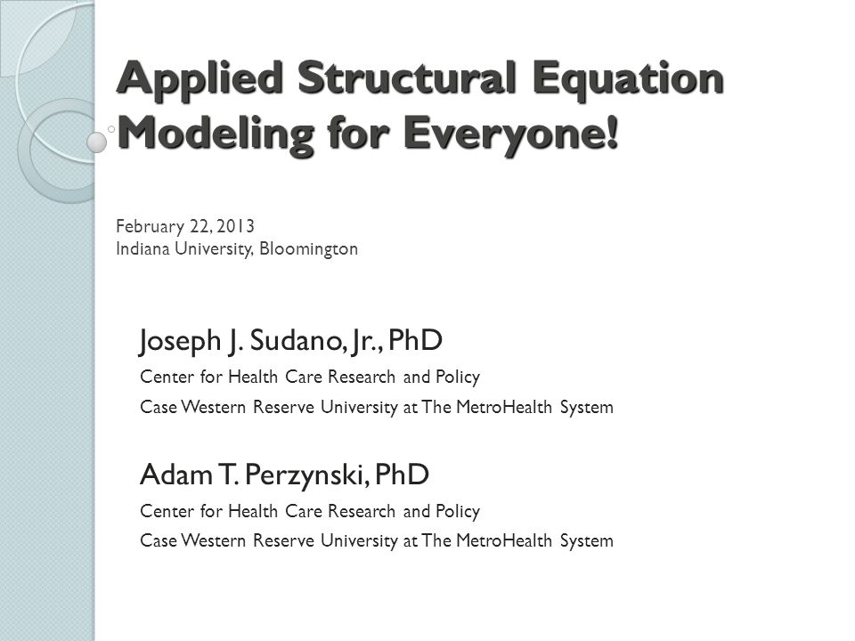 Applied Structural Equation Modeling for Everyone
