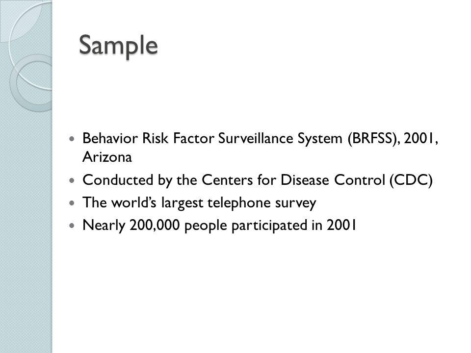 Sample Behavior Risk Factor Surveillance System (BRFSS), 2001, Arizona