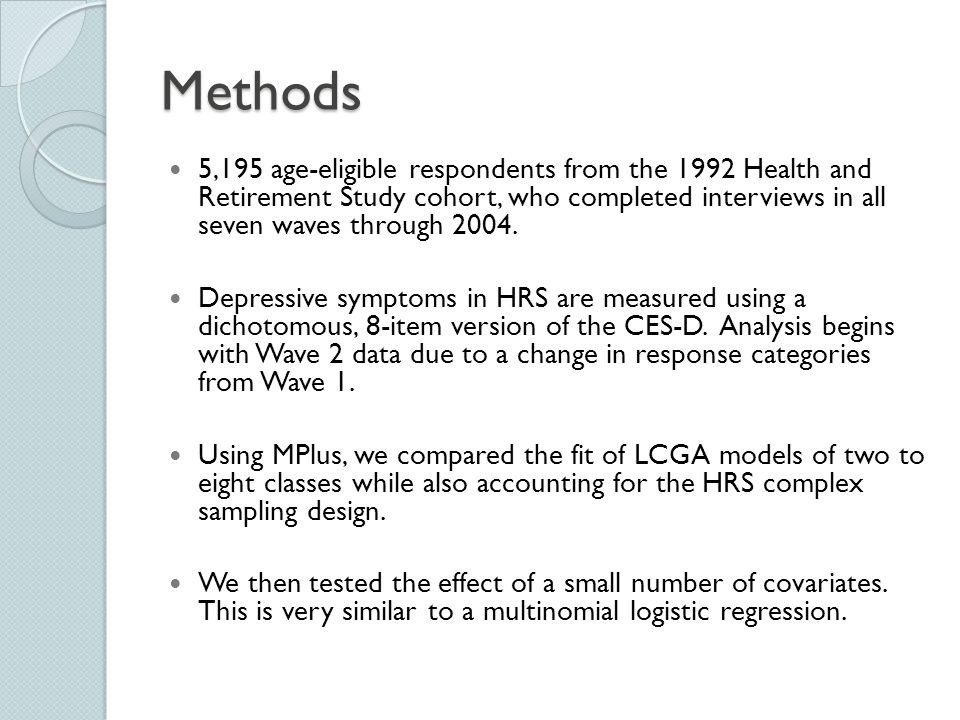 Methods 5,195 age-eligible respondents from the 1992 Health and Retirement Study cohort, who completed interviews in all seven waves through 2004.