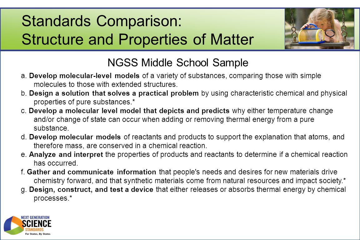 Standards Comparison: Structure and Properties of Matter