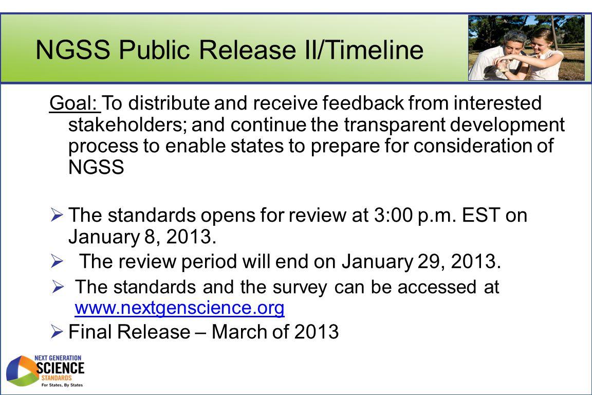 NGSS Public Release II/Timeline