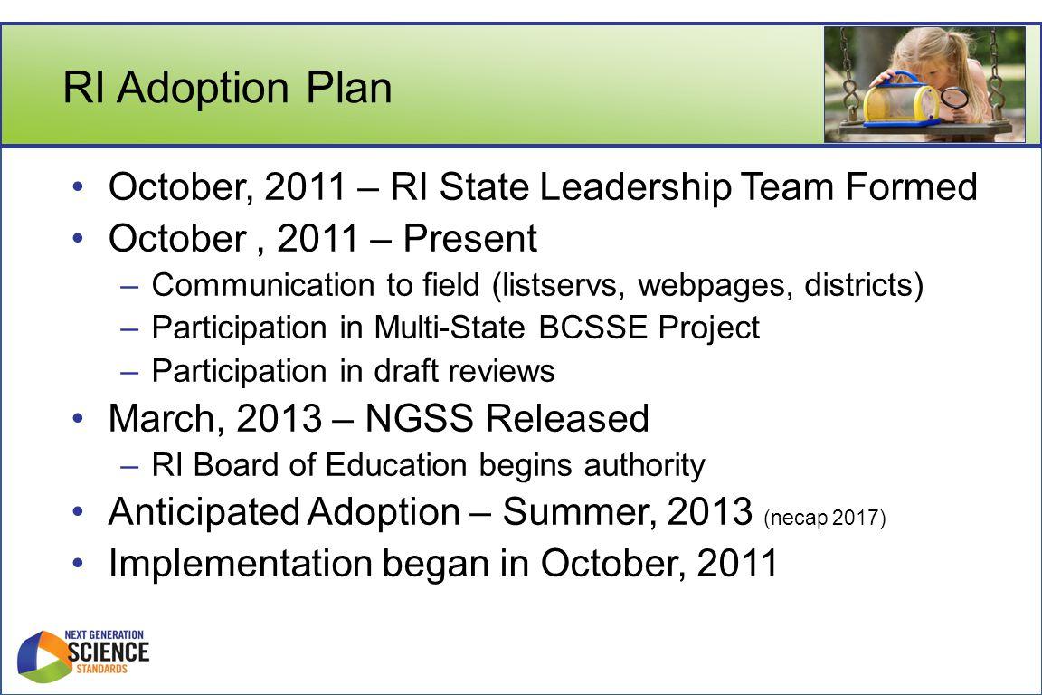 RI Adoption Plan October, 2011 – RI State Leadership Team Formed