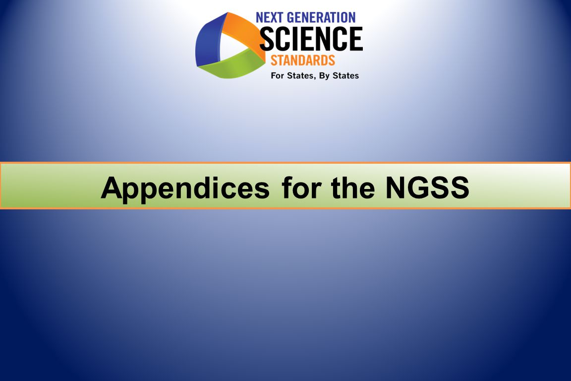 Appendices for the NGSS