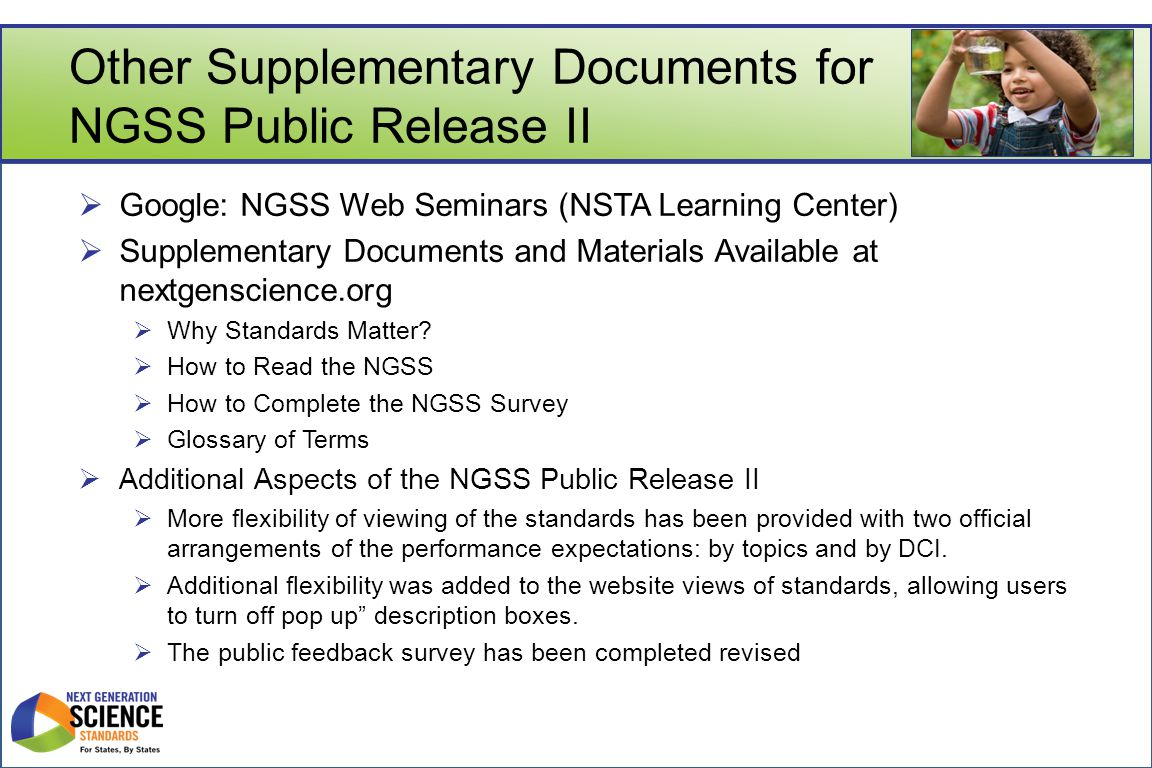 Other Supplementary Documents for NGSS Public Release II