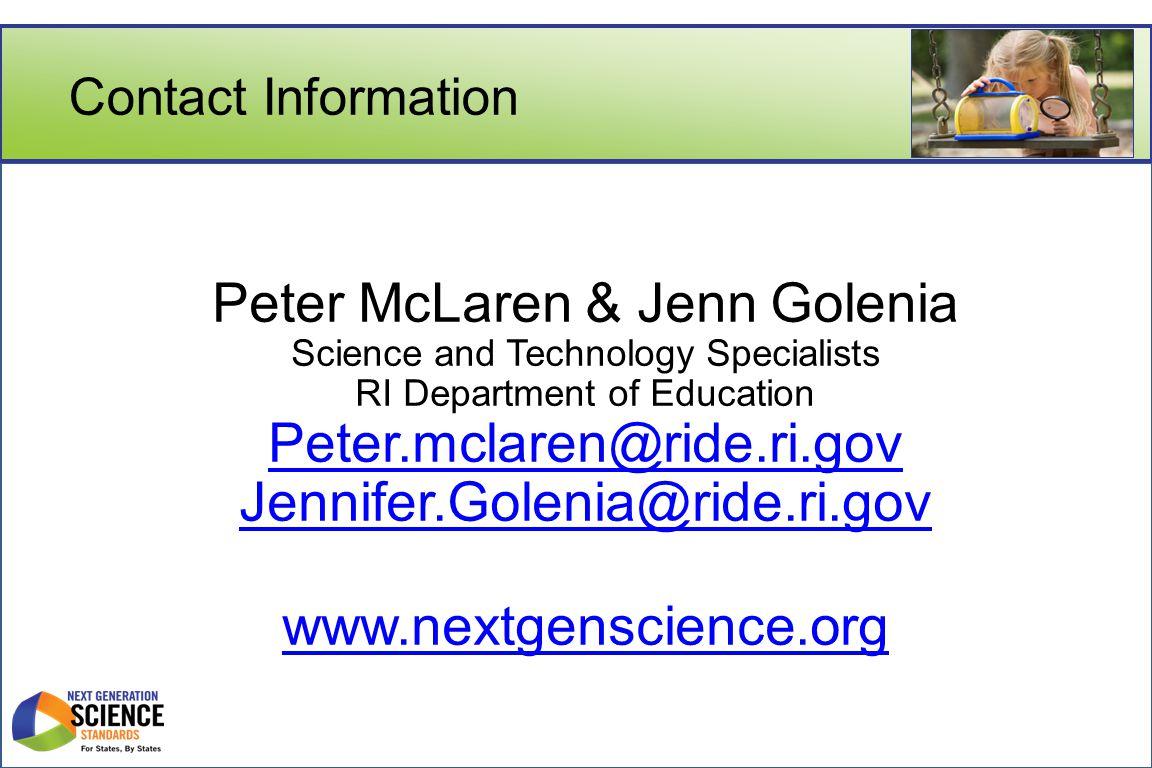 Peter McLaren & Jenn Golenia Peter.mclaren@ride.ri.gov