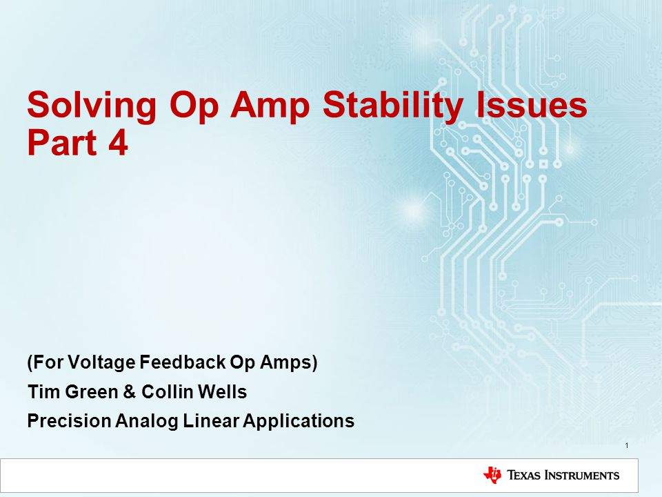 Solving Op Amp Stability Issues Part 4