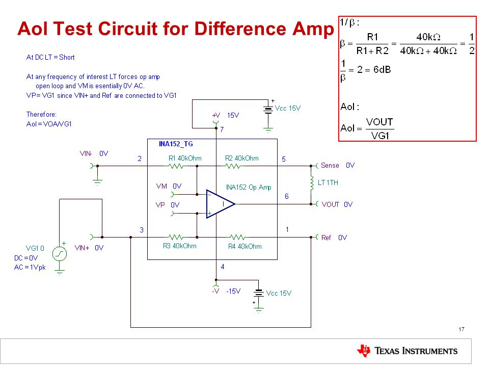 Aol Test Circuit for Difference Amp
