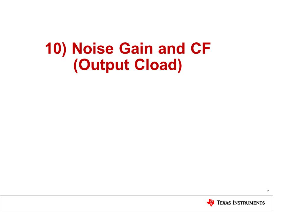 10) Noise Gain and CF (Output Cload)