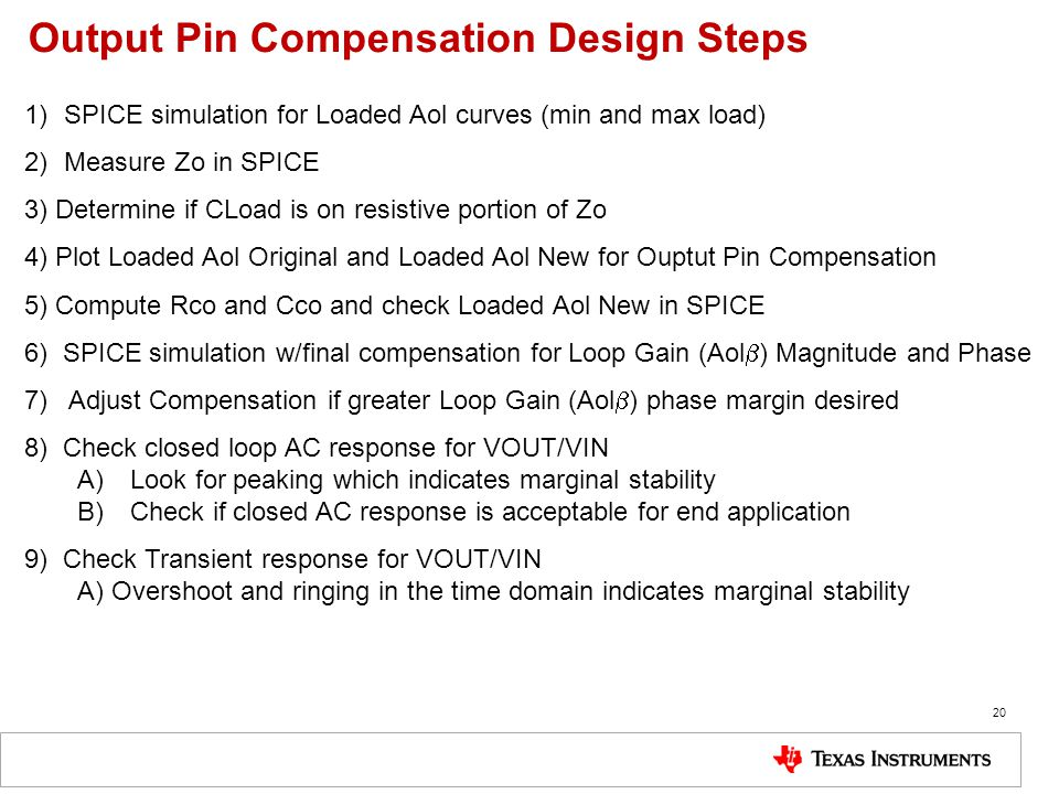 Output Pin Compensation Design Steps
