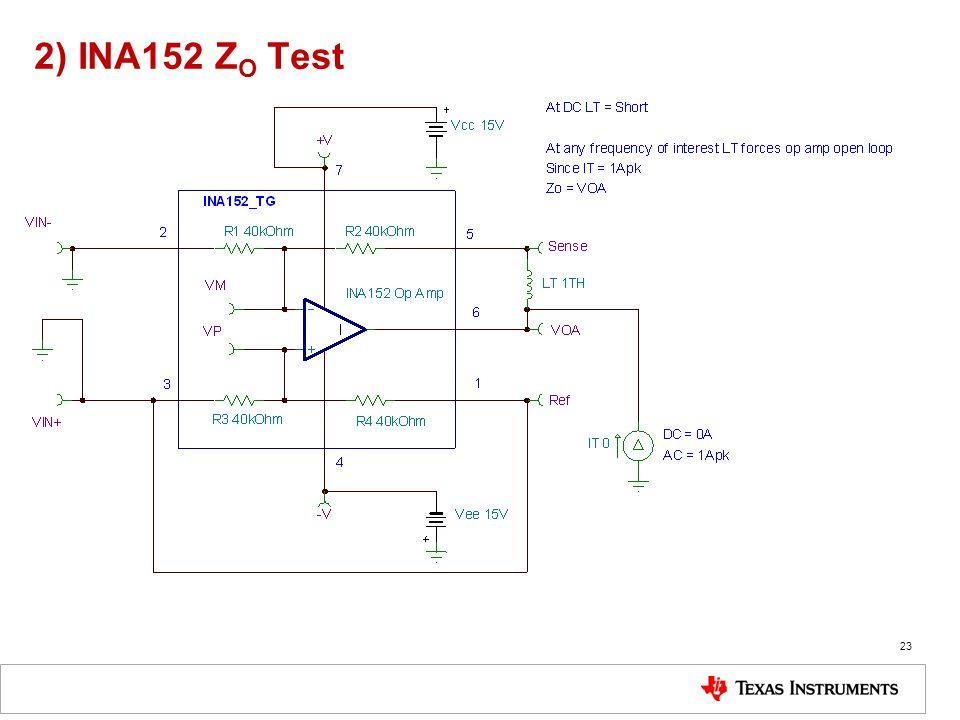 2) INA152 ZO Test