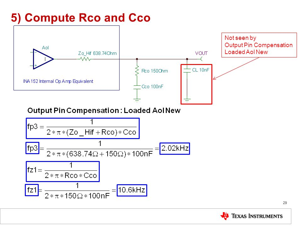 5) Compute Rco and Cco Not seen by Output Pin Compensation