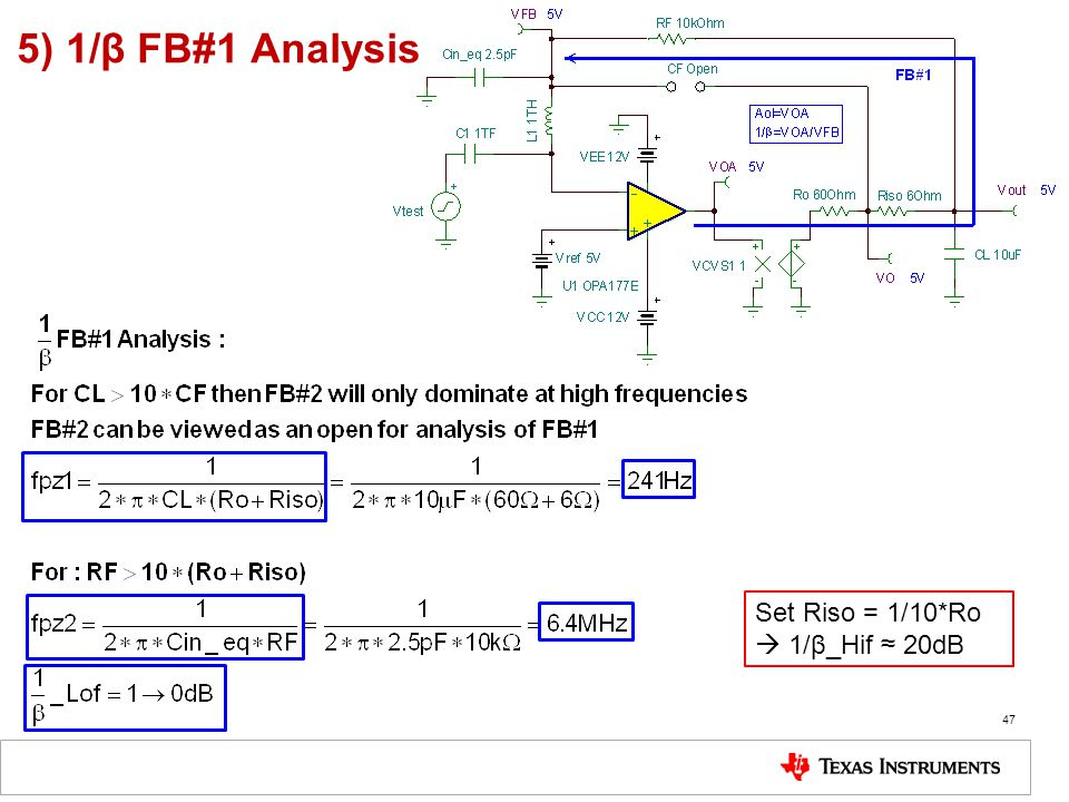 5) 1/β FB#1 Analysis Set Riso = 1/10*Ro  1/β_Hif ≈ 20dB