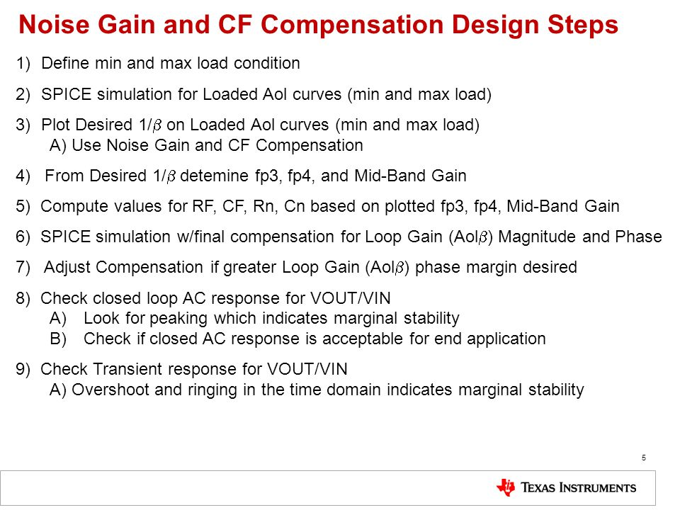 Noise Gain and CF Compensation Design Steps