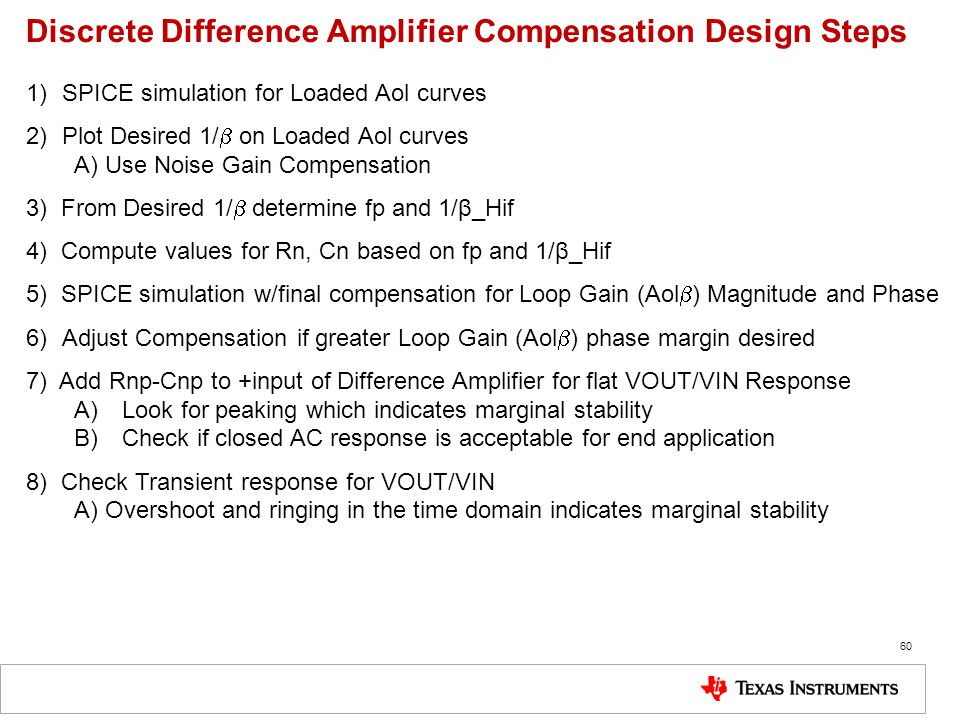 Discrete Difference Amplifier Compensation Design Steps