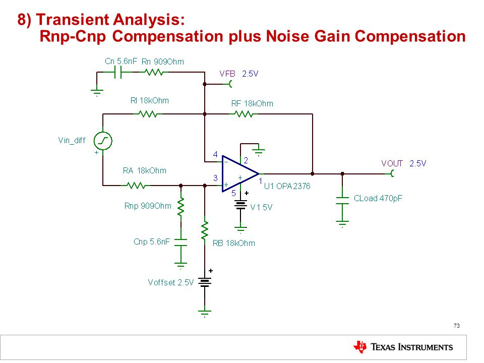 8) Transient Analysis: Rnp-Cnp Compensation plus Noise Gain Compensation