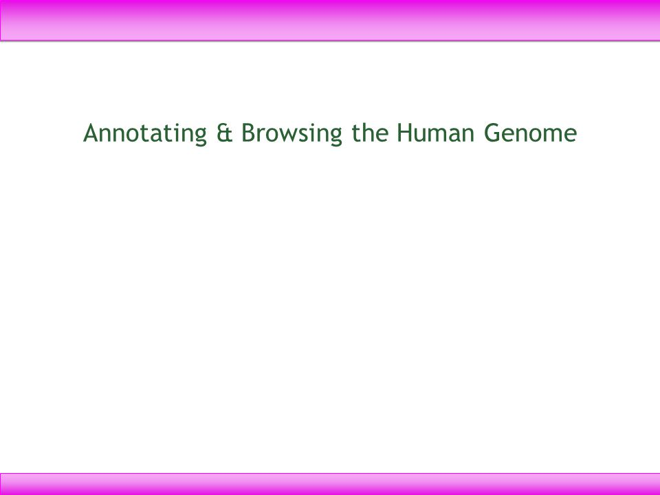 Annotating & Browsing the Human Genome