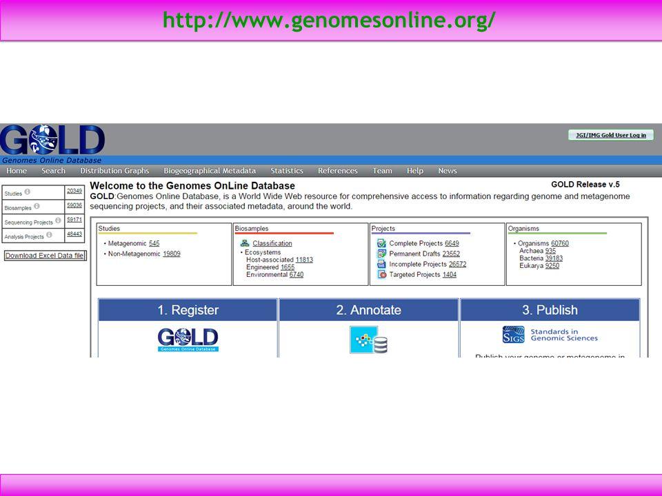 http://www.genomesonline.org/ 4