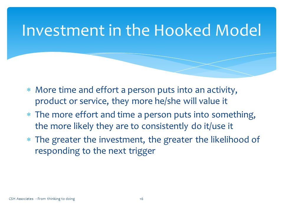 Investment in the Hooked Model