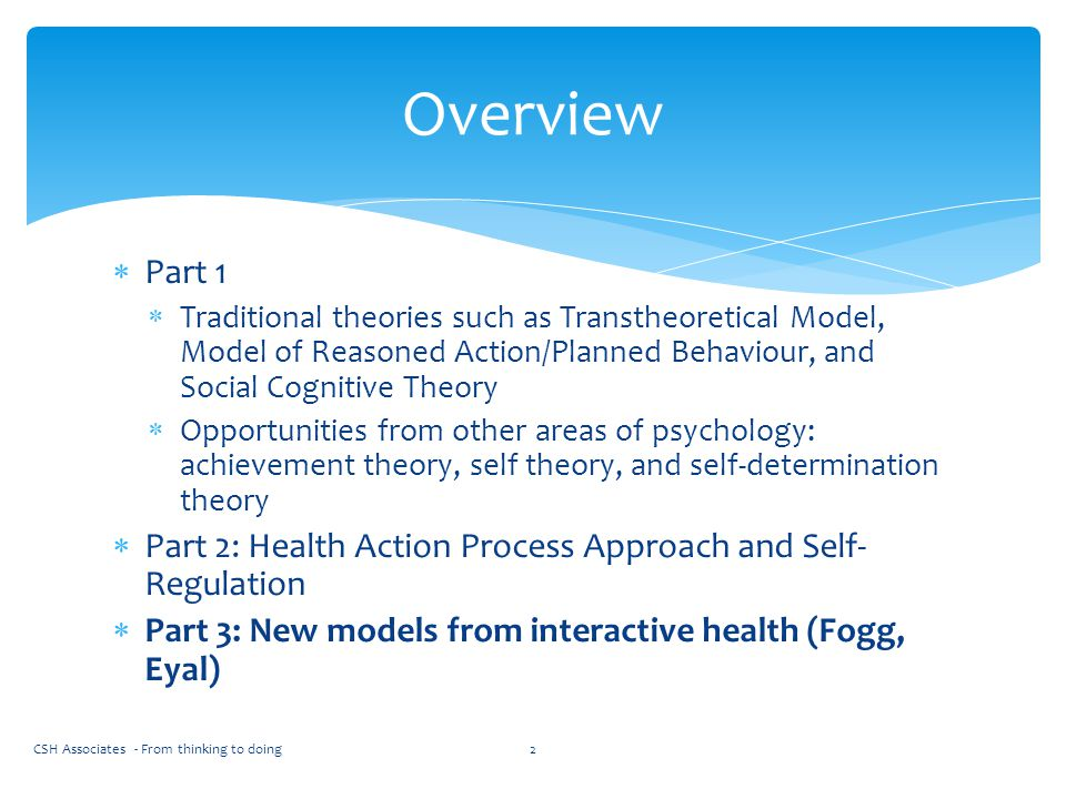 Overview Part 1. Traditional theories such as Transtheoretical Model, Model of Reasoned Action/Planned Behaviour, and Social Cognitive Theory.