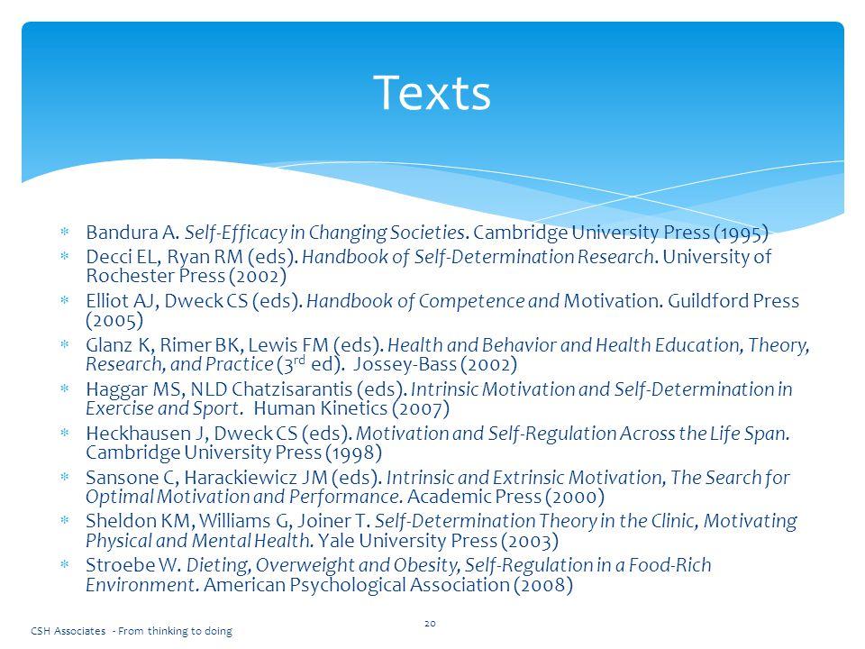 Texts Bandura A. Self-Efficacy in Changing Societies. Cambridge University Press (1995)