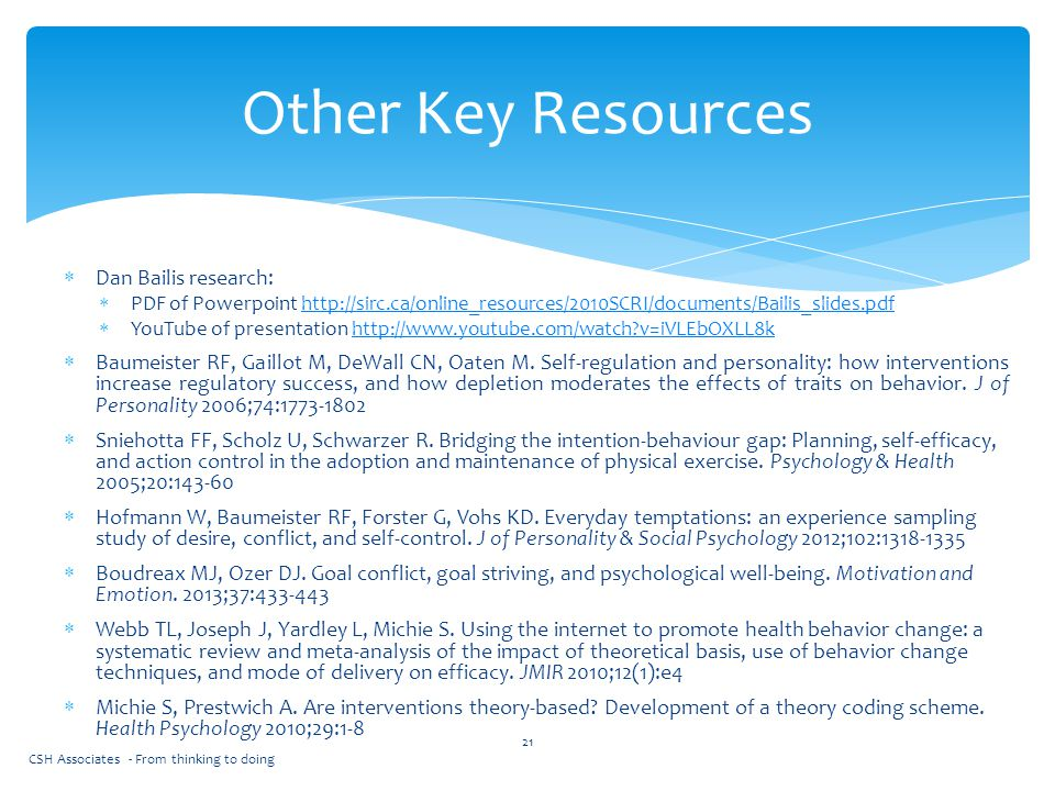 Other Key Resources Dan Bailis research: