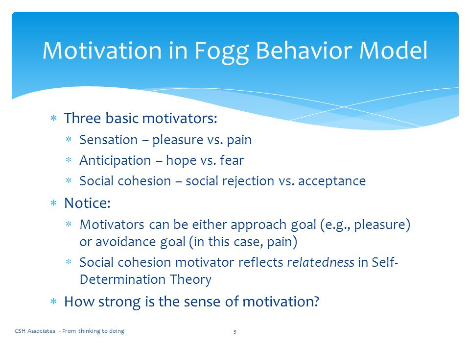 Motivation in Fogg Behavior Model