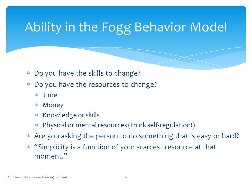 Ability in the Fogg Behavior Model