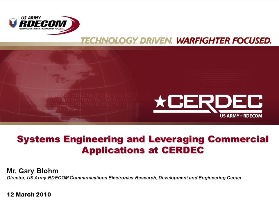 Systems Engineering and Leveraging Commercial Applications at CERDEC