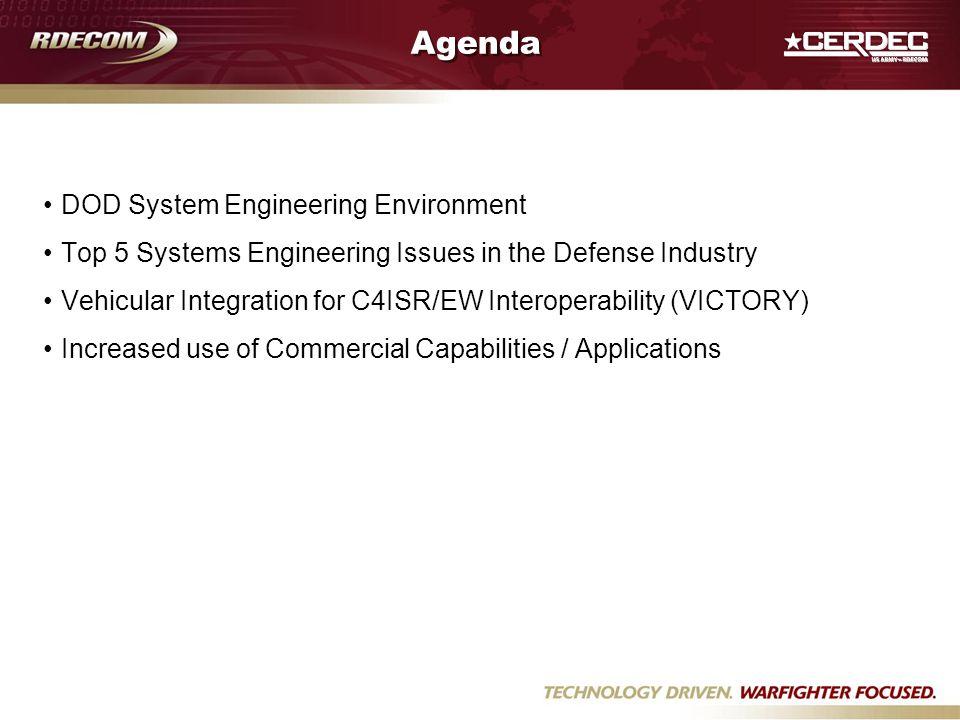 Agenda DOD System Engineering Environment