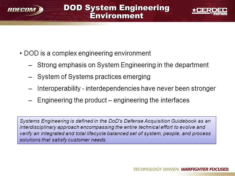 DOD System Engineering Environment