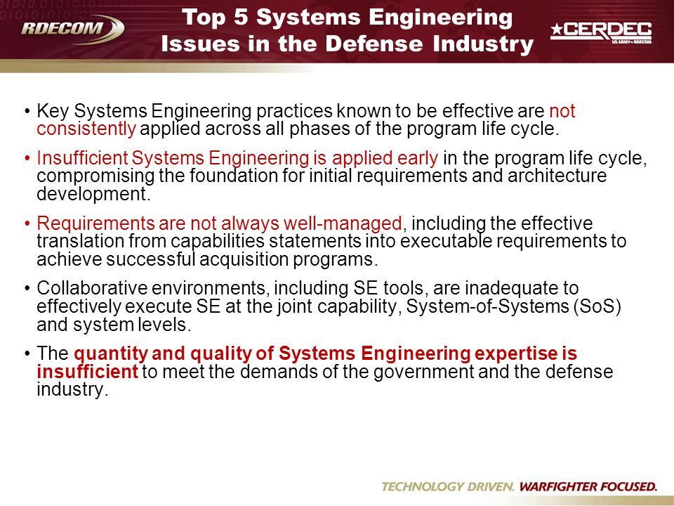 Top 5 Systems Engineering Issues in the Defense Industry