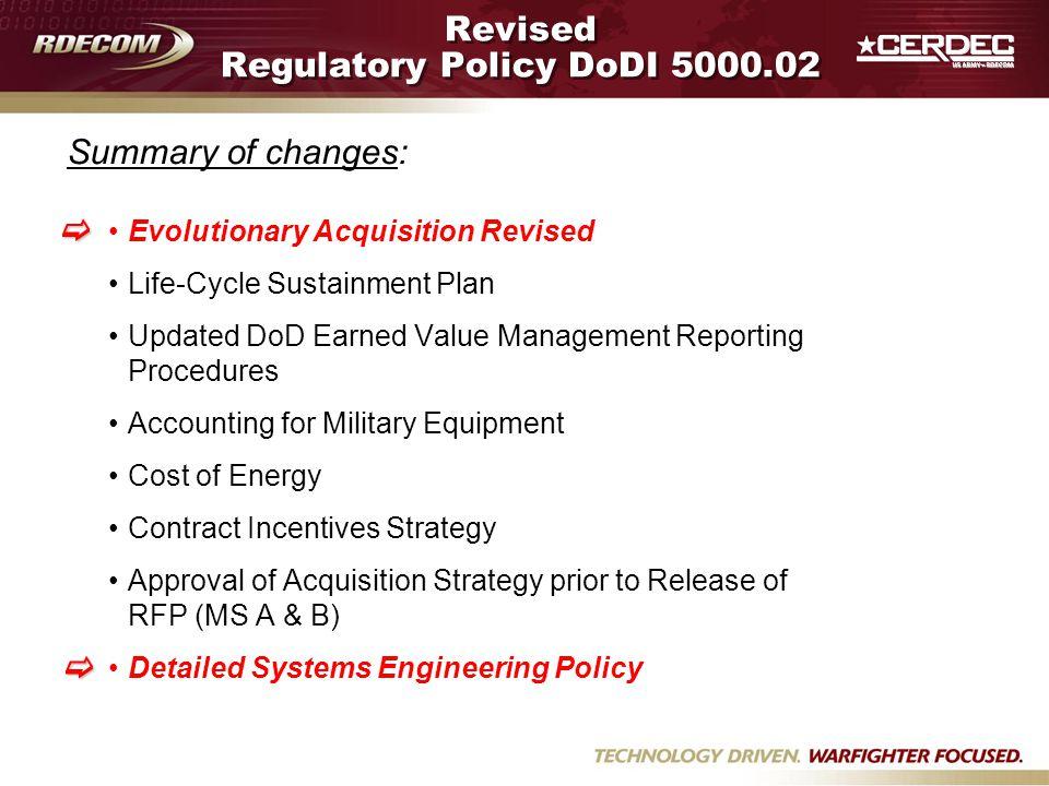 Revised Regulatory Policy DoDI 5000.02