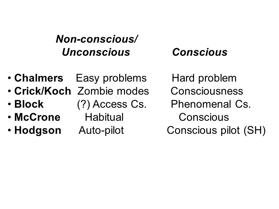 Non-conscious/ Unconscious Conscious. Chalmers Easy problems Hard problem. Crick/Koch Zombie modes Consciousness.