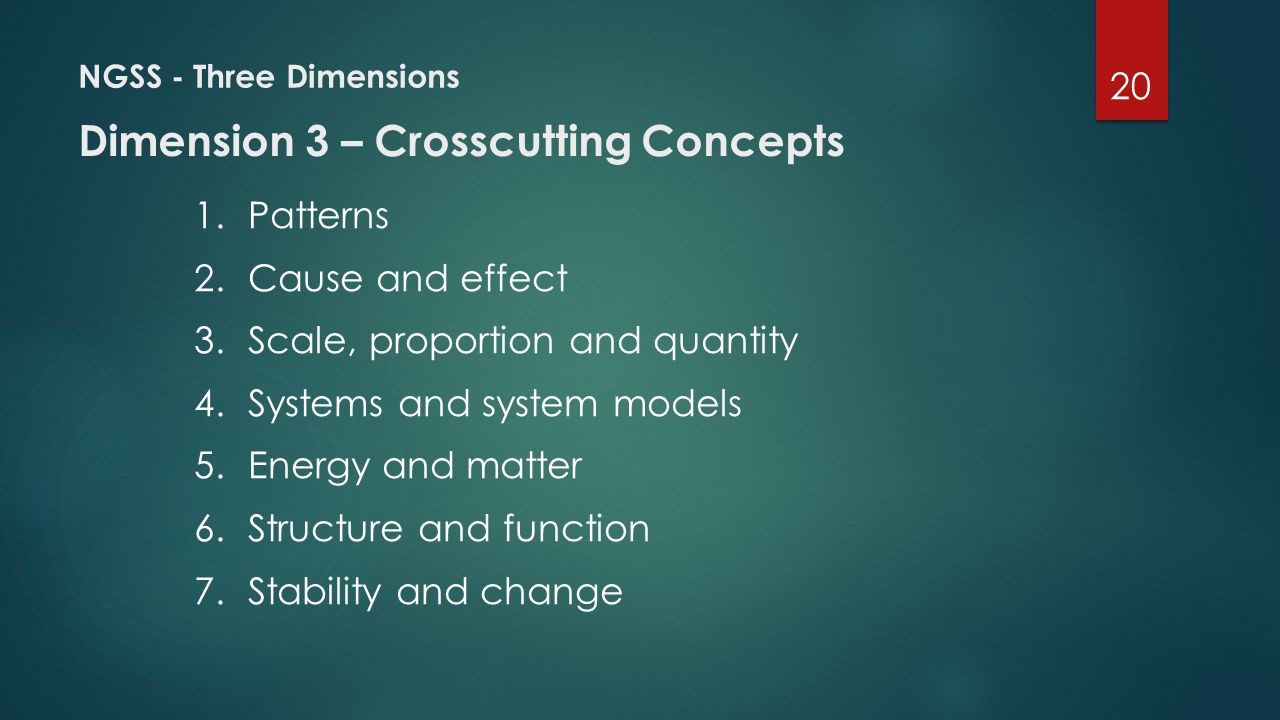 NGSS - Three Dimensions Dimension 3 – Crosscutting Concepts