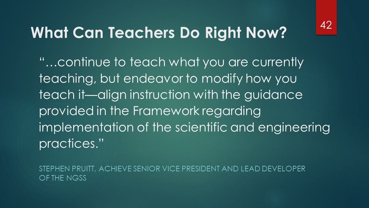 What Can Teachers Do Right Now